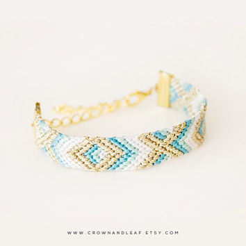 Seabreeze / XO / Gold Chain Friendship Bracelet / Woven Bracelet / Teal Mint Grey and Gold / Gold Chain Bracelet / Bridesmaid Bracelet