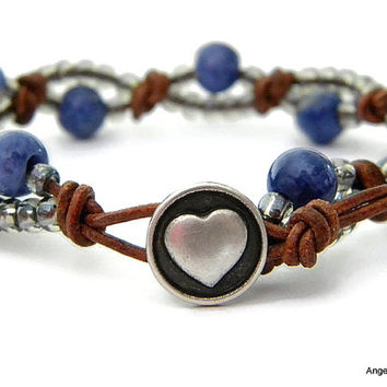 Sodalite Wrap Bracelet Entwined Leather Wrap Heart Bracelet