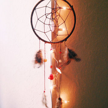 Rose Quartz Laughing Buddha Suede Wrapped Handmade Dreamcatcher Wall Hanging