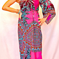 SEXY TRIBAL MAXI DRESS BOHO TROPICAL One Shoulder HOT PINK TURQUOISE NWT $99