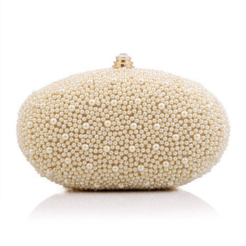 Ladies Beading Gold Clutches Crystal Rhinestone Evening Bag Bling Chain Shoulder bags Bridal Wedding Purse bolsas mujer XA629C