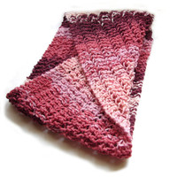 Small möbius scarf burgundy to pink knitted in merino and acrylic blend yarn READY TO SHIP