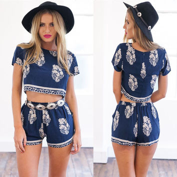 Dark Blue Floral Print Cropped T-shirt and Shorts