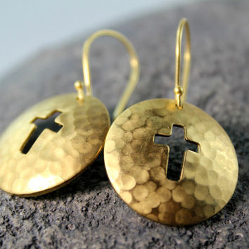 Round Cross Earrings, Hammered Disc Dangle, Solid Raw Brass, Antiqued Cross, Coin Drop Earrings, Edgy Jewelry, Cross Jewelry