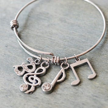 musician gift, silver bangle, personalized jewelry, best friend, wire bangle, music note bangle, orchestra, music lover gift, bridesmaid