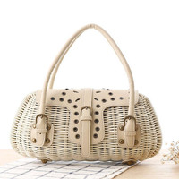 Ladies Hand-woven Shopping Beach Basket Fully Lined Rattan Beach Bag / Satchel Beach Bag