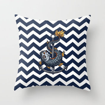 CHEVRON - Stay Anchored - Navy Blue Throw Pillow by Belle13