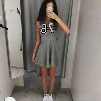 Grey Number Print Sleeveless Skater Dress