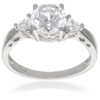 "Platinum Plated Sterling Silver ""100 Facets Collection"" Cubic Zirconia Three-Stone Ring, Size 5"