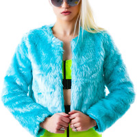 Nameless Fur Play Crop Jacket Mint