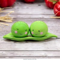 Peas in a Pod Ceramic Salt and Pepper Shakers