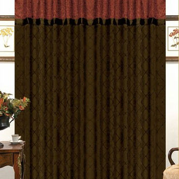 "55x90"" Soho Window Curtain Chocolate/Reddish Orange"