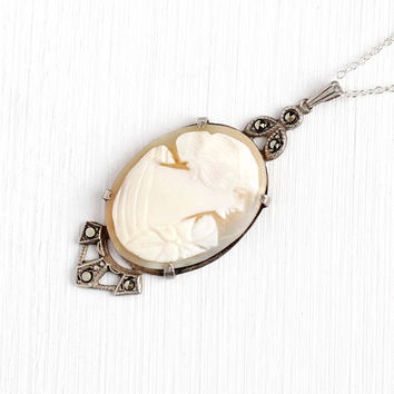 Antique Cameo Necklace - Sterling Silver Art Deco Marcasite Carved Genuine Shell Lady Pendant - 1920s Filigree Milgrain Flapper Jewelry
