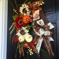 Fall Grapevine wreath, Autumn Grapevine Wreath with maroon and cream colored sunflowers and white pumpkins, front door wreath
