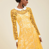 Collar ID Lace Dress in Yellow | Mod Retro Vintage Dresses | ModCloth.com