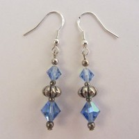 Sterling Silver Hooks & Silver Tone and Glass Bead Dangle Earrings