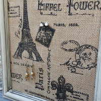 Parisian Burlap Earring Holder, Parisian Framed Earring Display, Antique Beige, Jewelry Organizer