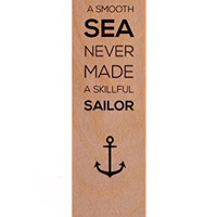Wood Bookmark - A Smooth Sea Never Made a Skillful Sailor - Nautical Travel Wooden Bookmarks Hipster Minimalist Sailing Inspirational Entrepreneur Anchor Quote Made in USA