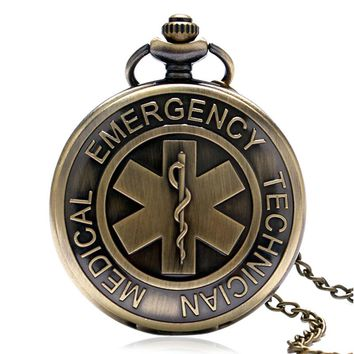 Bronze Vintage EMT Emergency Medical Technician Paramedic Badge Nurse Pocket Watch Woman Men Necklace Pendant Birthday Gift