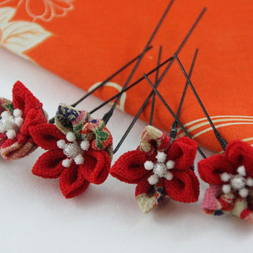 Red Kanzashi U-pin/ set of four / Floral hair pin / folded flower made by Japanese fabric