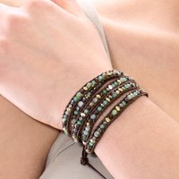 Chan Luu Wrap Bracelet | Brown Leather With Mixed Stones