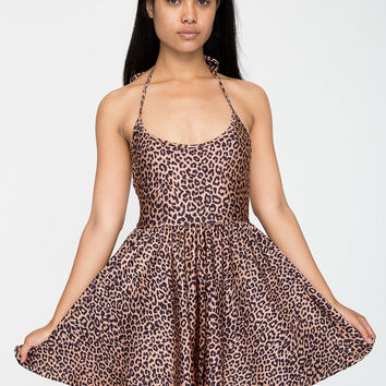 American Apparel - Shiny Peach Cheetah Nylon Tricot Figure Skater Dress