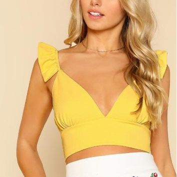 Plunging Crop Top With Ruffle Strap