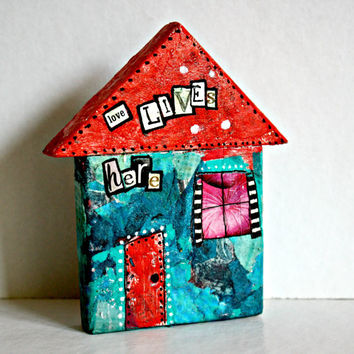 Whimsical miniature house, small wooden house, whimsical cottage, tiny house, housewarming gift idea