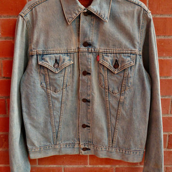 Vintage LEVIS Big E LVC Lot 71557 Size 40 Stone Acid wash Blue Denim Jeans Jacket Made in Japan