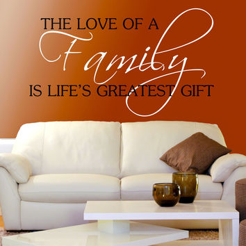 Family Wall Decals- by Decor Designs Decals, Love Of A Family- Personalized Family Name, Family Vinyl Lettering, Vinyl Wall Art Family- Wedding Gift Wall Decal U35
