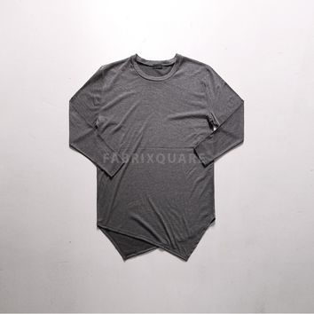 Mens VANDALIQUE Asymmetric Diagonal Cut Viscose Long T Shirt at Fabrixquare