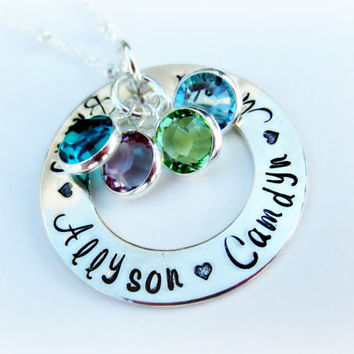 Grandmother Necklace-Grandma Necklace-Personalized Birthstone Necklace-Mother Necklace-Mom Jewelry-Kids' Names Necklace