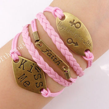 faith,boys and girls with, & kiss me Charm Bracelet Antique bronze- Wax Cords Leather bracelet-- friendship gift 581