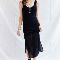 One & Only X Urban Renewal Sheer-Inset Maxi Dress - Black