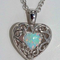 Beautiful Opal Diamond Heart Pendant White Gold Quality