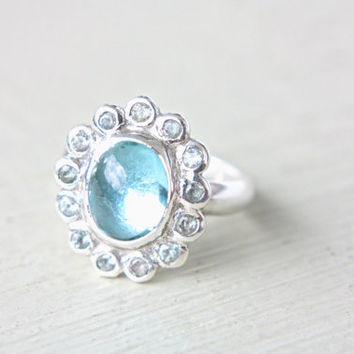 Blue Topaz Engagement Ring Sterling Silver Turquoise Sky Blue Topaz Gem Ring Natural Topaz Ring Size 9 Engagement  Promise Rin 8-8,5