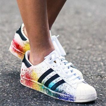 Adidas Superstar Women Men Multicolor Shell Toe Flats Sneakers Sport Shoes