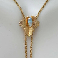 Vintage Gold Filled Opal Lariat Slider Necklace