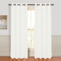 Lavish Home Mia Jacquard Grommet Curtain Panel - White