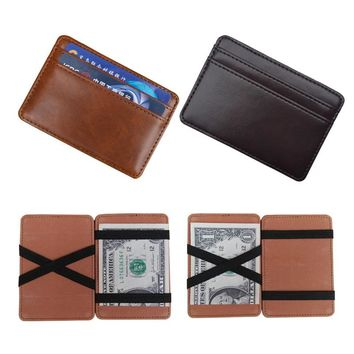 2018 New arrival High quality leather magic wallets Fashion men money clips card purse 2 colors