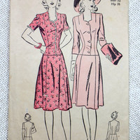 Vintage Pattern Advance 3027 dress sewing low waist1940s dress sweetheart neckline Bust 32 shirtwaist War era