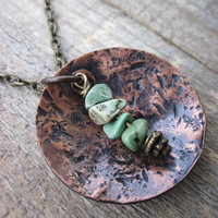 Distressed turquoise necklace by CopperTreeArt on Etsy
