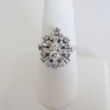 14k Estate Vintage Natural Diamonds White Gold Art Deco Edwardian Georgian Antique style Cluster Engagement Something Old Princess Ring