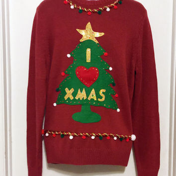 Ugly Christmas Sweater, Red Sweater, Grinch Sweater, Christmas Sweater, Ugly Sweater Party, XL, Item #12