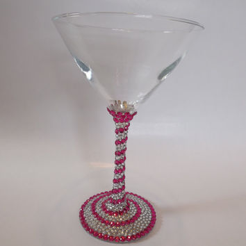 Rhinestone Martini Glass Pink Silver Bling