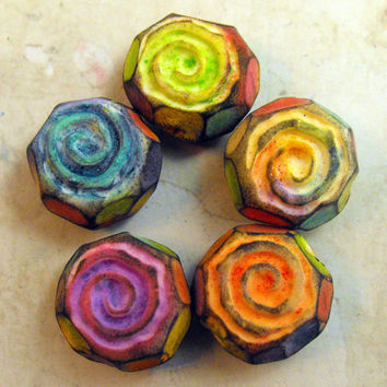 5 Rustic Rainbow Spiral Beads - Handmade from Polymer Clay