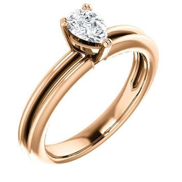 0.50 Ct Pear Solitaire Diamond Engagement Ring 14k Rose Gold