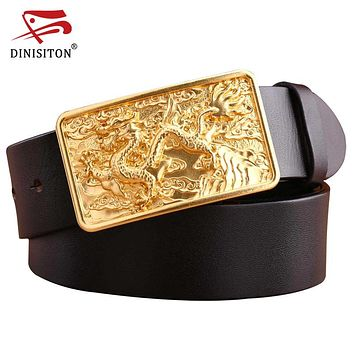 Top Layer Leather Belt Dragon Solid Brass buckle luxury genuine leather Long designer belt men high quality