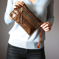 Distressed brown leather clutch, rugged bag, zipper wristlet ,  distressed leather purse,  Iphone6 case, wallet , coin purse