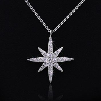 Fashion jewelry Best Quality 100% 925 sterling silver Crystals From Swarovski Elegant star anise necklace For Women and female